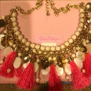 Lilly Pulitzer pink tassel Necklace with ivory